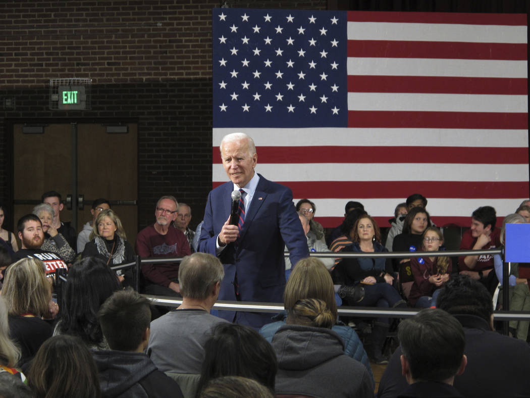 Democratic presidential candidate, former Vice President Joe Biden speaks at a rally in the gym ...