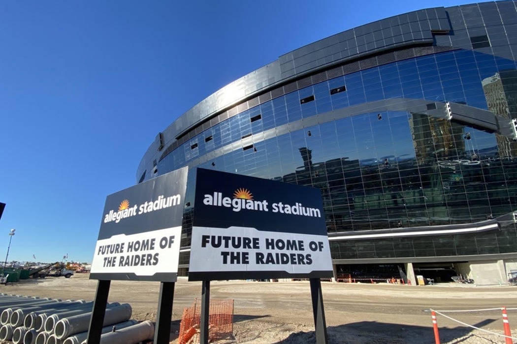 New signage outside Allegiant Stadium on Dec. 31, 2019. (Mick Akers/Las Vegas Review-Journal)