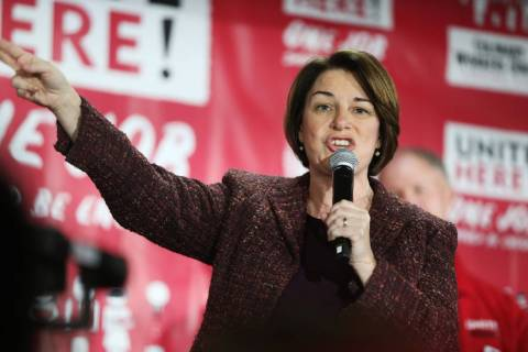 Democratic presidential candidate Amy Klobuchar speaks during a town hall at the Culinary Worke ...
