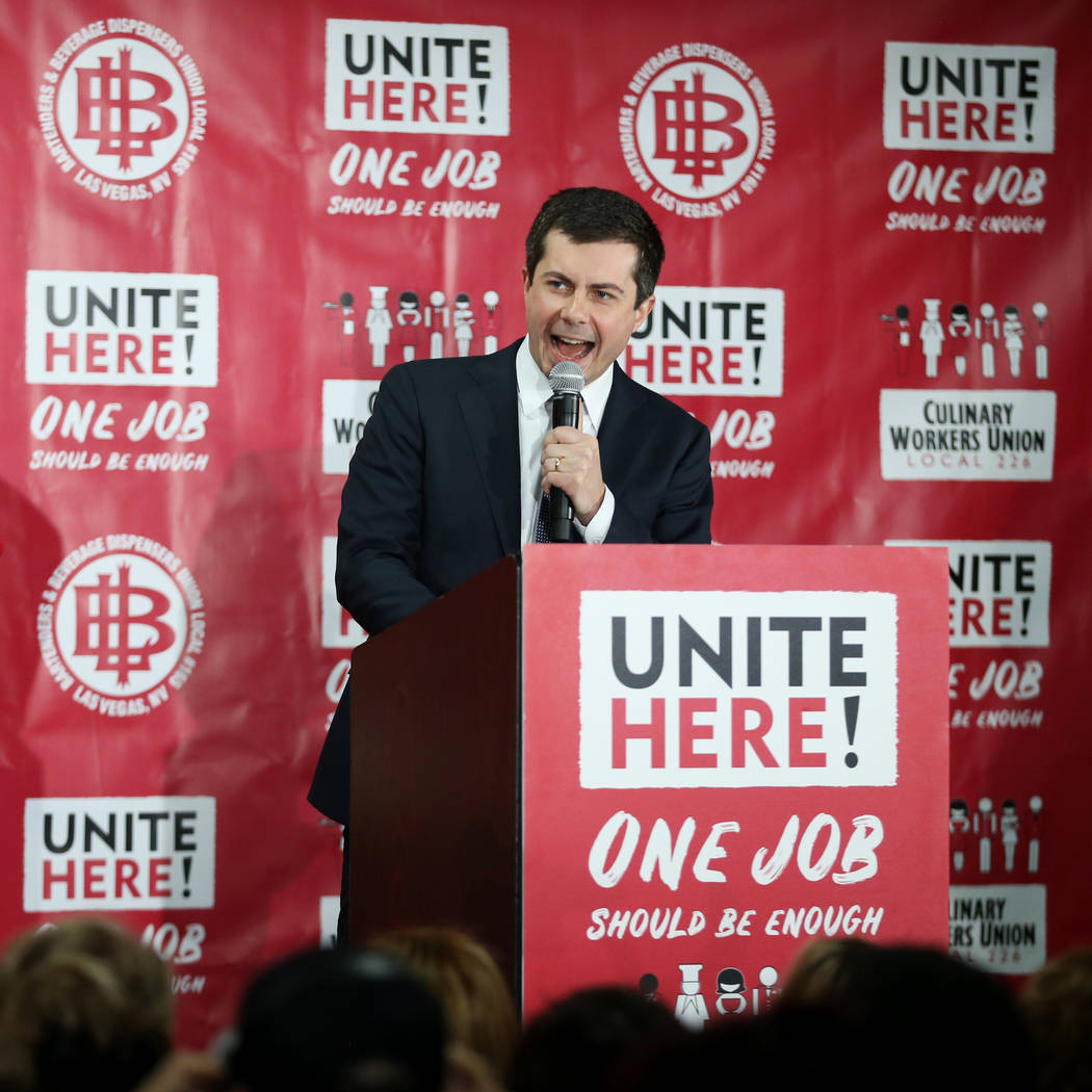 Democratic presidential candidate Pete Buttigieg speaks during a town hall event at the Culinar ...