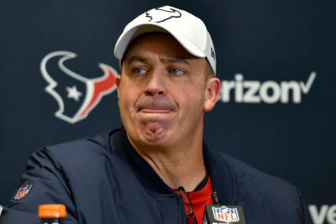 Houston Texans head coach Bill O'Brien speaks during a news conference following an NFL divisio ...