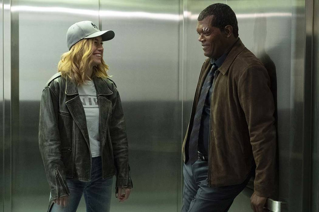 This image released by Disney-Marvel shows Samuel L. Jackson, right, with Brie Larson on the se ...
