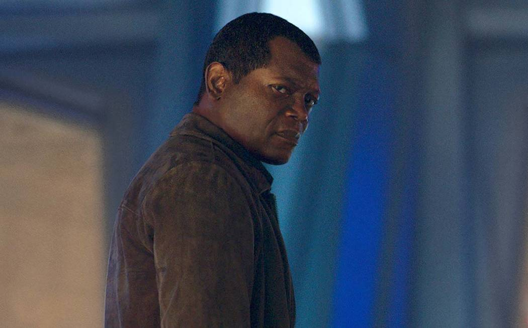 This image released by Disney-Marvel shows Samuel L. Jackson as a younger Nick Fury in a scene ...