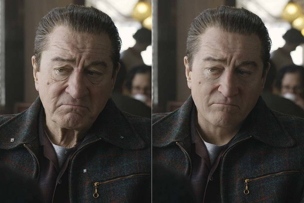 "This combination of photos shows actor Robert De Niro, left, during the filming of ""The Ir ..."
