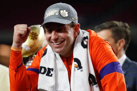 Clemson coach Dabo Swinney celebrates after Clemson defeated Ohio State 29-23 in the Fiesta Bow ...