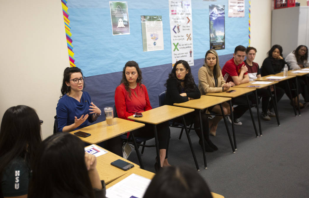 Nicola Opfer, student body president at Nevada State College, speaks at a roundtable for Latino ...
