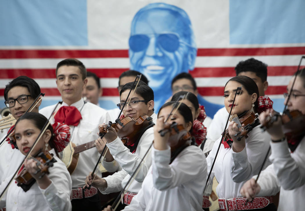Las Vegas High School's mariachi group plays before Joe Biden speaks at a campaign event at Ran ...