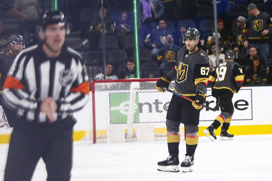 Golden Knights' Max Pacioretty (67) looks on after a 3-0 loss to the Columbus Blue Jackets in a ...