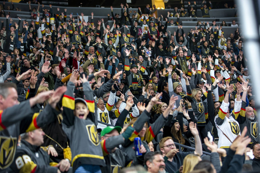 """Vegas Golden Knights fans do the """"wave"""" as their team dominates the Arizona Coyotes d ..."""