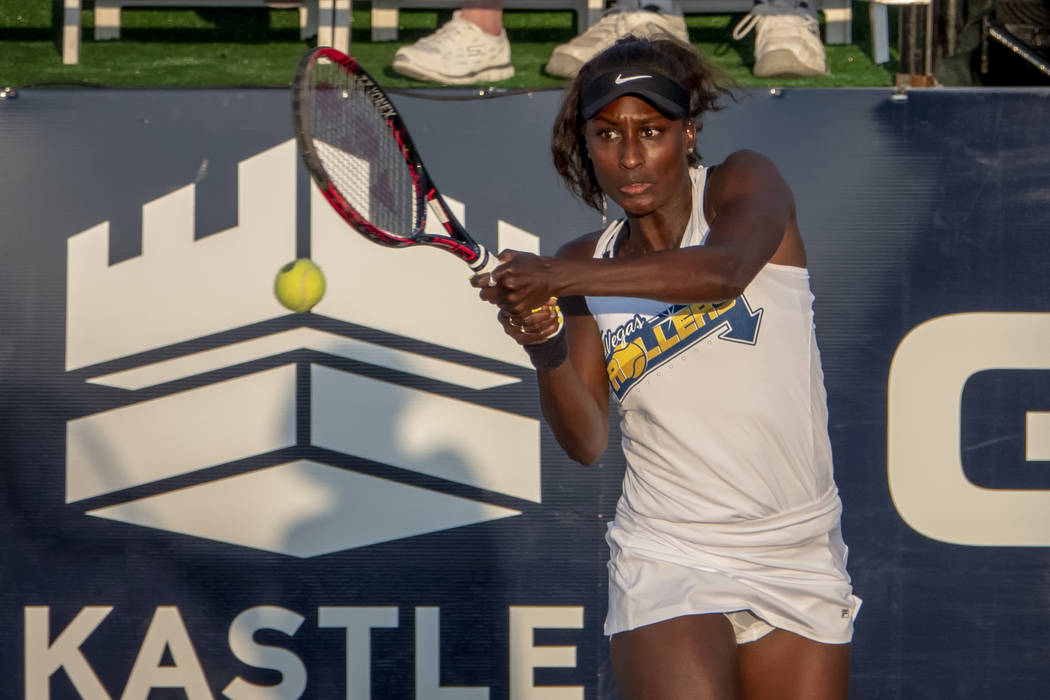 Vegas Rollers Asia Muhammad hits a backhand during a WTT match between the Washington Kastles a ...