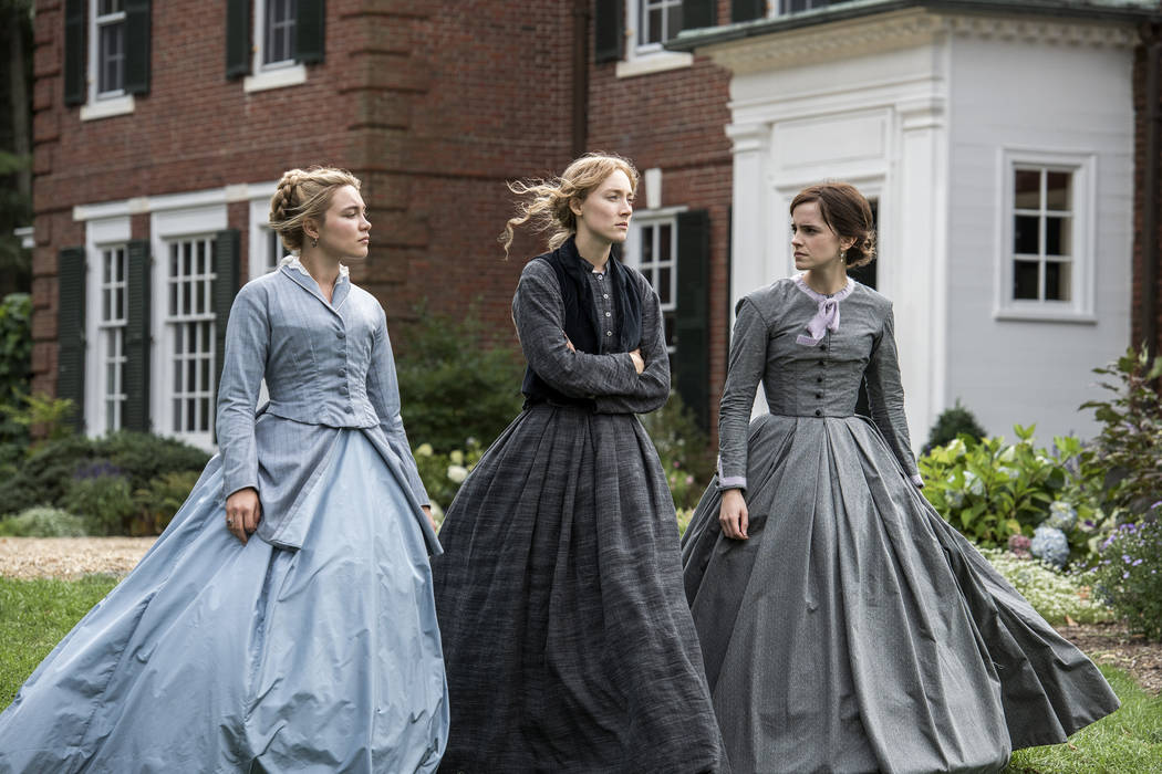 This image released by Sony Pictures shows, from left, Florence Pugh, Saoirse Ronan and Emma Wa ...