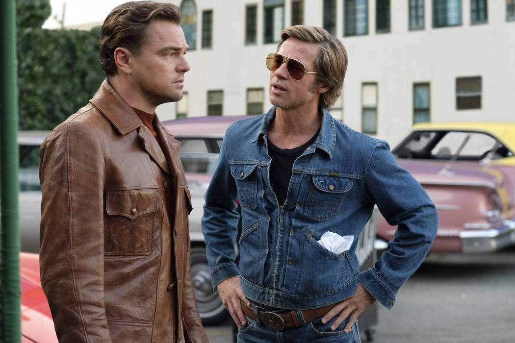 This image released by Sony Pictures shows Leonardo DiCaprio, left, and Brad Pitt in a scene fr ...