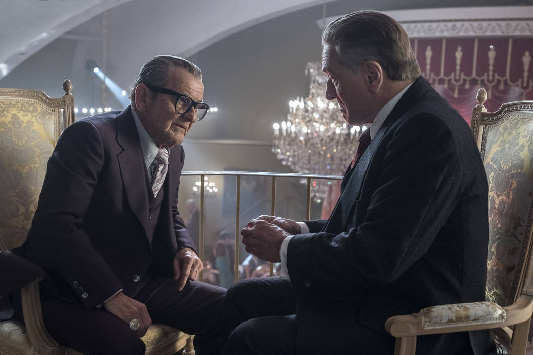 """This image released by Netflix shows Joe Pesci, left, and Robert De Niro in a scene from """" ..."""