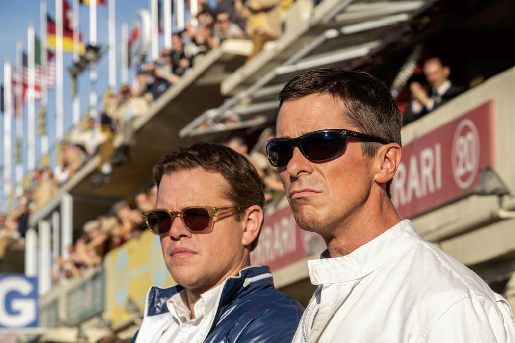 This image released by 20th Century fox shows Christian Bale, right, and Matt Damon in a scene ...