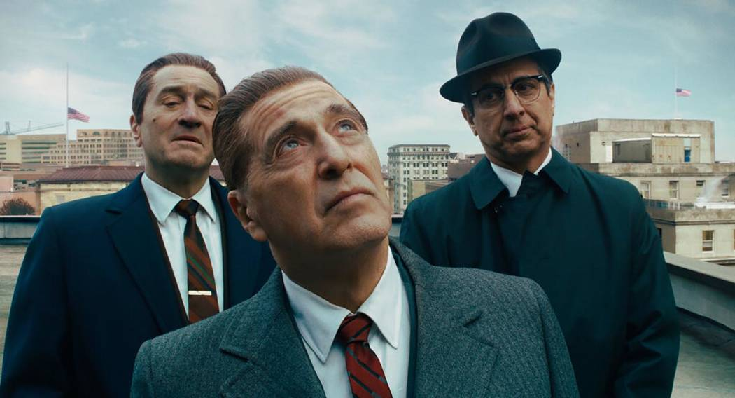 This image released by Netflix shows, from left, Robert De Niro, Al Pacino and Ray Romano in a ...