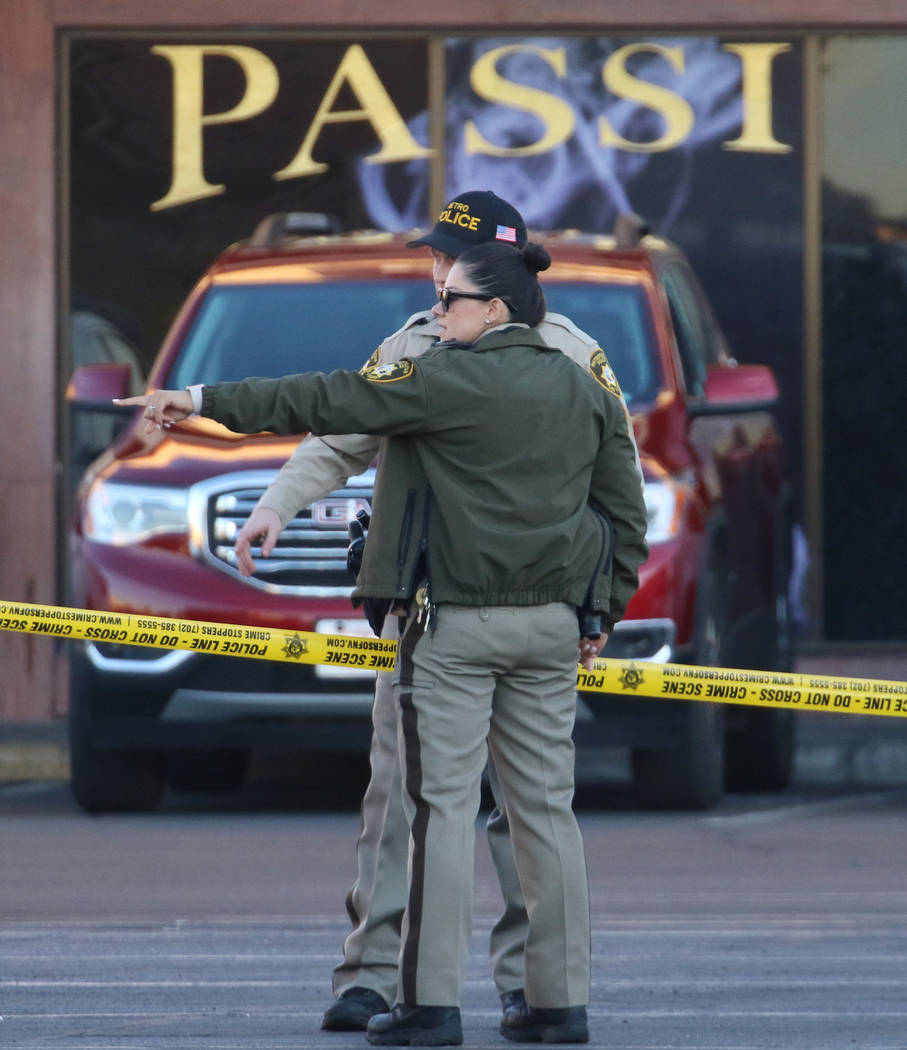 Las Vegas police are investigating a shooting in front of Passions Restaurant and Lounge at Mou ...