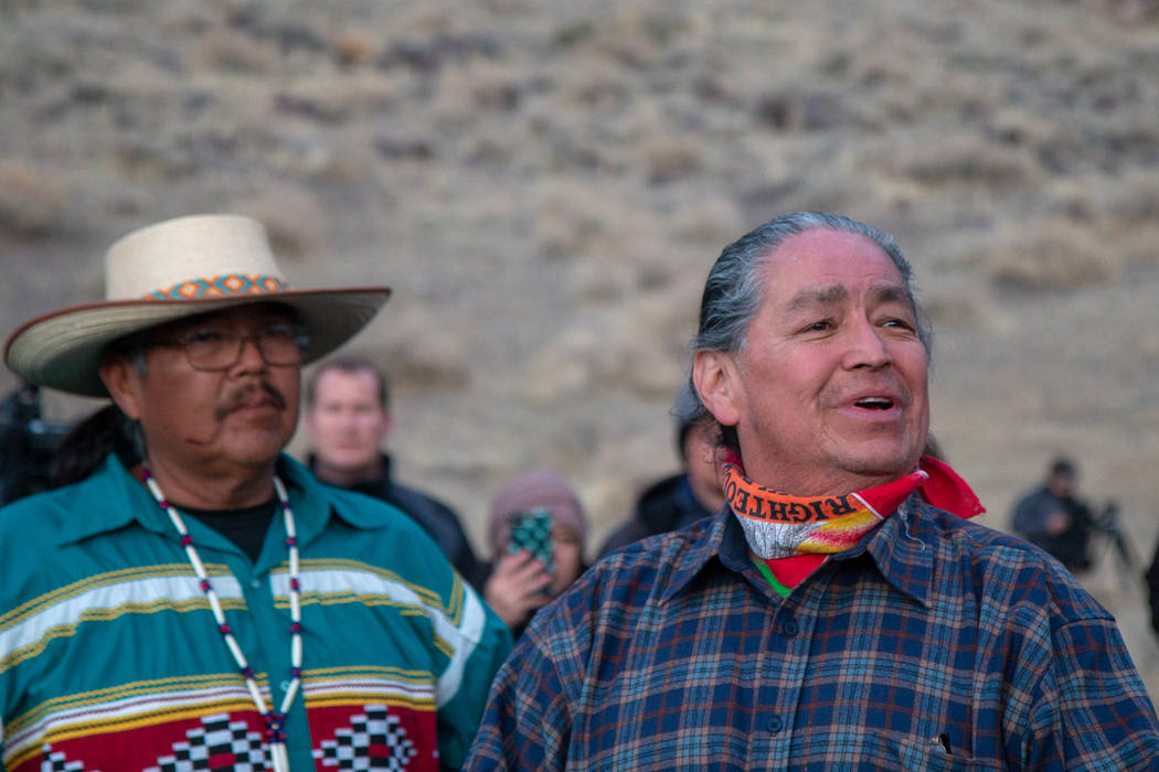 Pyramid Lake Paiute Vice Chairman Alan Mandell speaks to the crowd of supporters gathered to wa ...