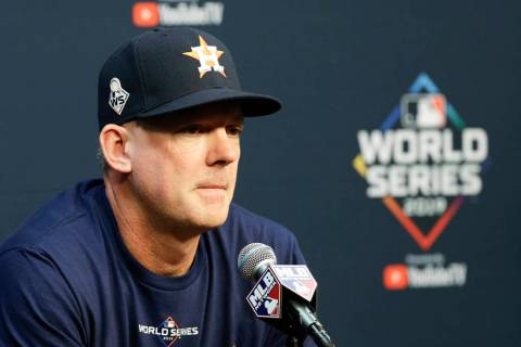 Houston Astros manager AJ Hinch speaks during a news conference for baseball's World Series Mon ...