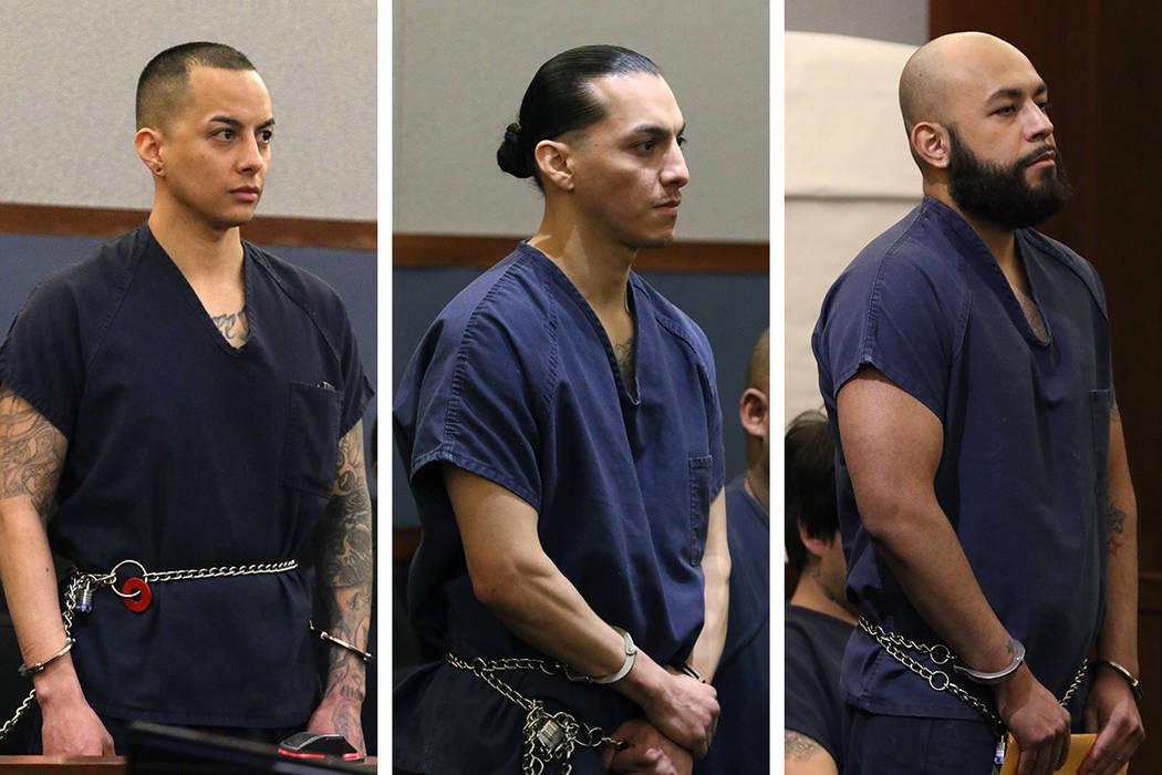Hugo Carbajal Jr., 27, left, Francis Carbajal 26, center, and Edgar Medina, 35, three of the me ...