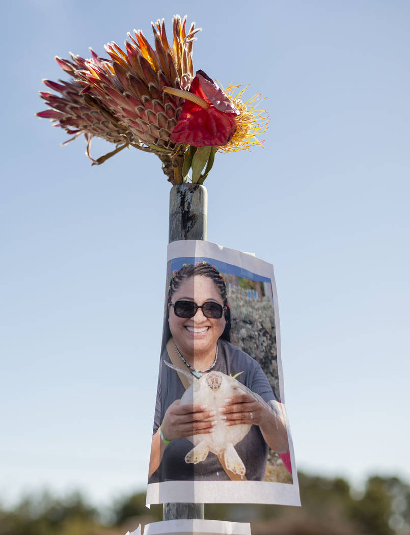 A photograph of Gilma Rodriguez-Walters, 53, is displayed at a memorial on Monday, Jan. 13, 202 ...