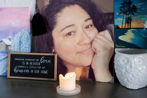 A photograph of Gilma Rodriguez-Walters, 53, is displayed next to pieces of her artwork in the ...