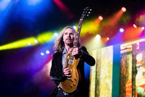 Tommy Shaw, of Styx, performs on stage at Verizon Wireless Amphitheater on Saturday, June,18, 2 ...