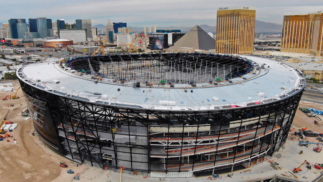 An aerial view of Allegiant Stadium pictured on Wednesday, Dec. 18, 2019, in Las Vegas. (Michae ...