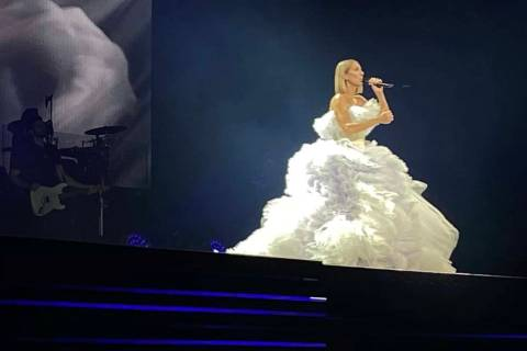 Celine Dion is shown performing at Bridgestone Arena in Nashville on Monday, Jan. 13, 2020. (Jo ...