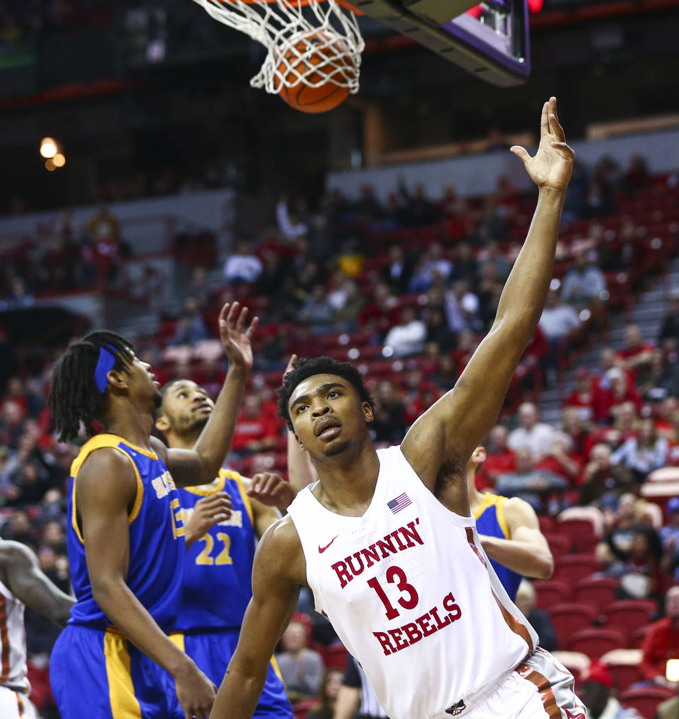 UNLV Rebels' Bryce Hamilton (13) celebrates after scoring against San Jose State during the sec ...