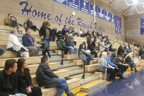 Parents gathered in the Sig Rogich Middle School gym on Monday, Jan. 13, 2020, to comment on a ...