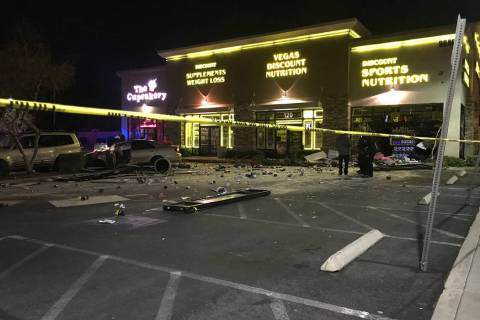 A car crashed through the Vegas Discount Nutrition store at Eastern Avenue and Silverado Ranch ...