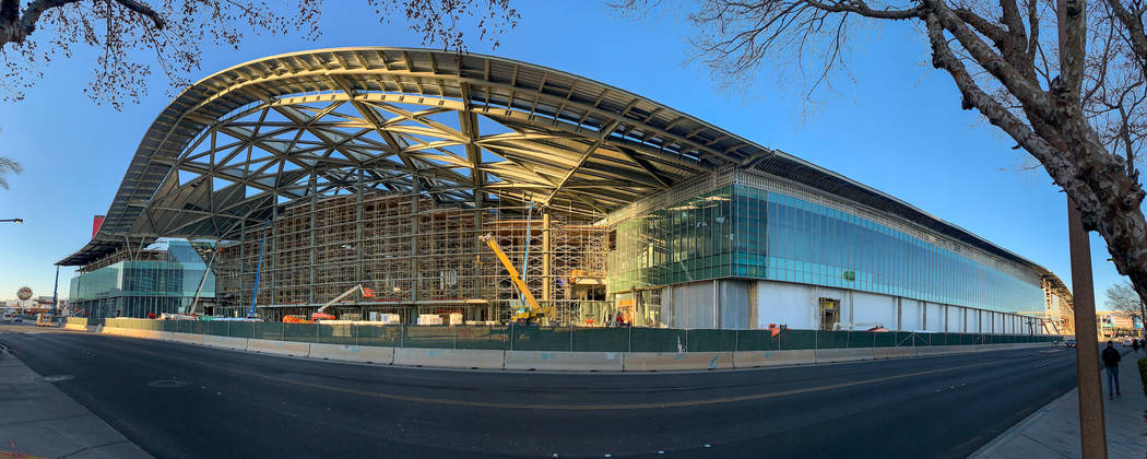 A panoramic view of the grand entry on the south facade of the new West Hall as construction co ...