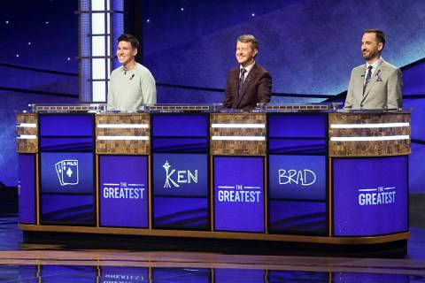 "From left, James Holzhauer, Ken Jennings and Brad Rutter appear on the set of ""Jeopardy! The Gr ..."
