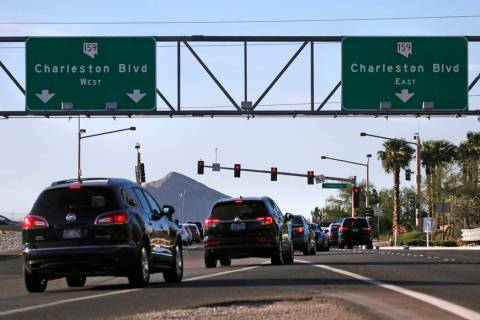 The intersection at Charleston Boulevard and 215 Beltway northbound in Las Vegas on Tuesday, Ma ...