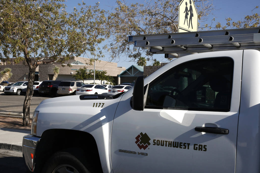 A Southwest Gas truck is seen on Friday, Aug. 17, 2018, in North Las Vegas. (Bizuayehu Tesfaye/ ...