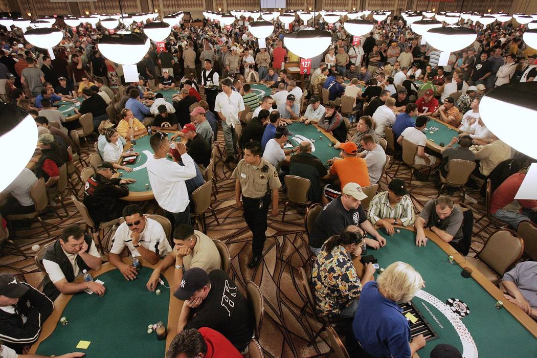 In this June 3, 2005, file photo, players prepare for the start of the World Series of Poker at ...