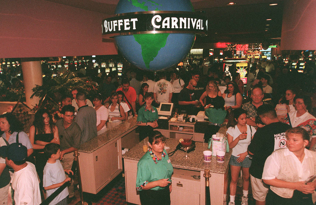 In this 1999 file photo shows buffet customers wait in line at Rio in Las Vegas. (Las Vegas Rev ...