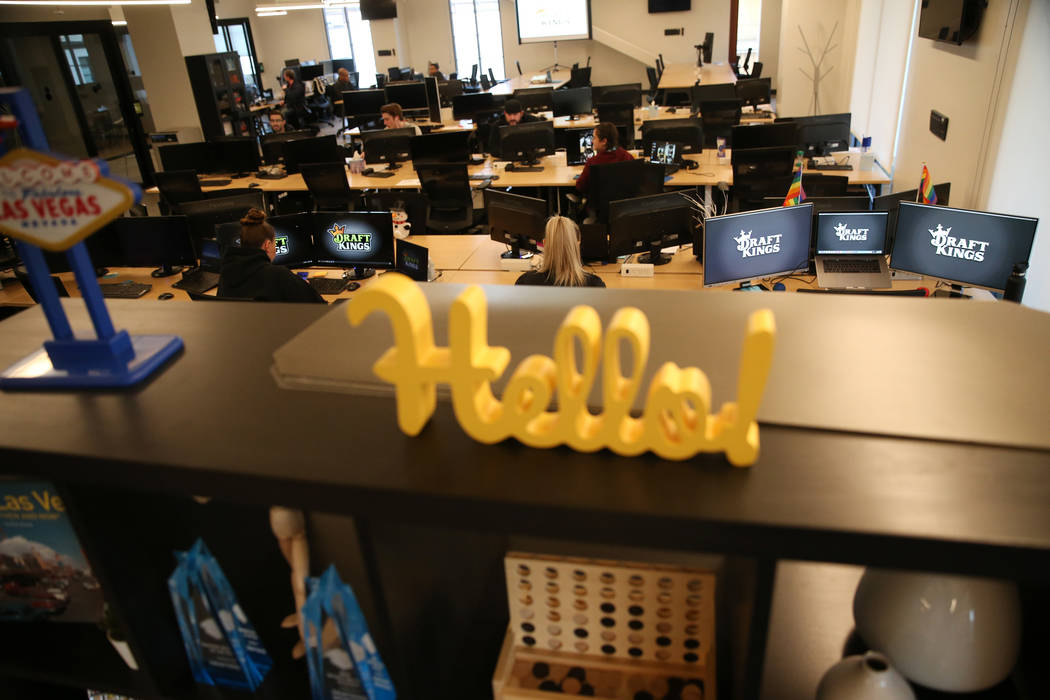 The DraftKings office at Town Square in Las Vegas, Wednesday, Jan. 15, 2020. (Erik Verduzco / L ...