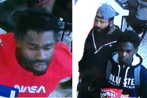 Police are looking for three men in connection to a strong-arm robbery Saturday, Dec. 28, 2019, ...