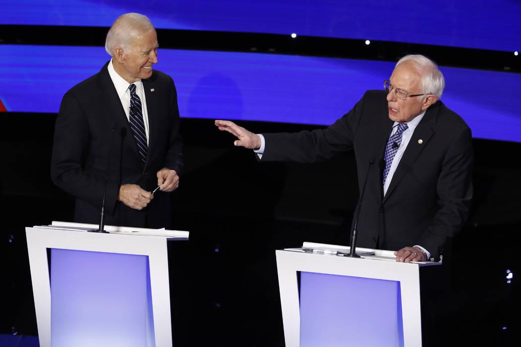 Democratic presidential candidate Sen. Bernie Sanders, I-Vt., speaks as former Vice President J ...