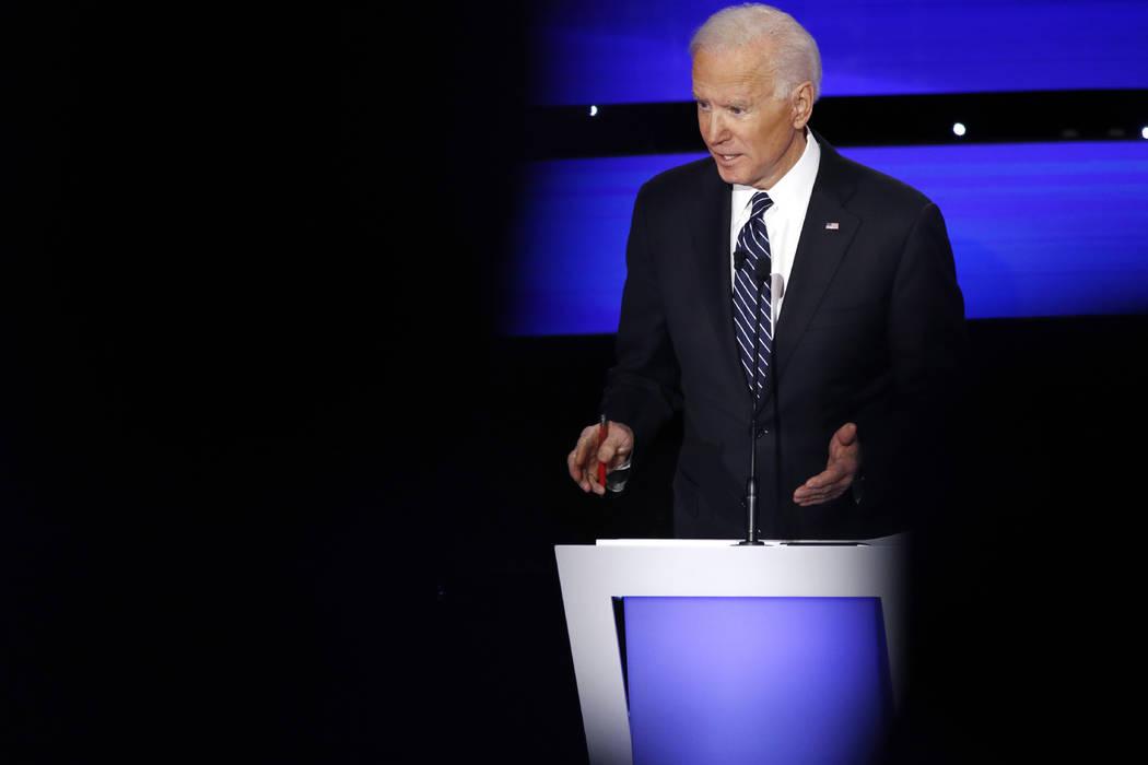 Democratic presidential candidate former Vice President Joe Biden speaks, Tuesday, Jan. 14, 202 ...