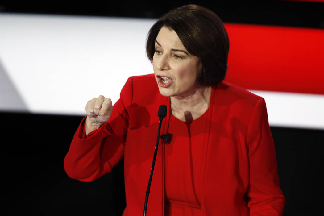 Democratic presidential candidate Sen. Amy Klobuchar, D-Minn., speaks Tuesday, Jan. 14, 2020, d ...