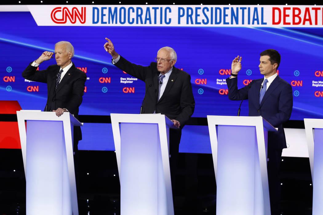 From left, Democratic presidential candidate former Vice President Joe Biden, Sen. Bernie Sande ...