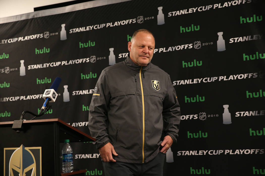 Vegas Golden Knights head coach Gerard Gallant speaks during a press conference at City Nationa ...