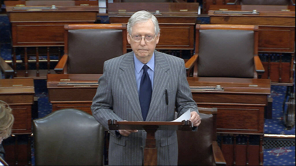 In this image from video, Senate Majority Leader Mitch McConnell of Ky., speaks after the Senat ...