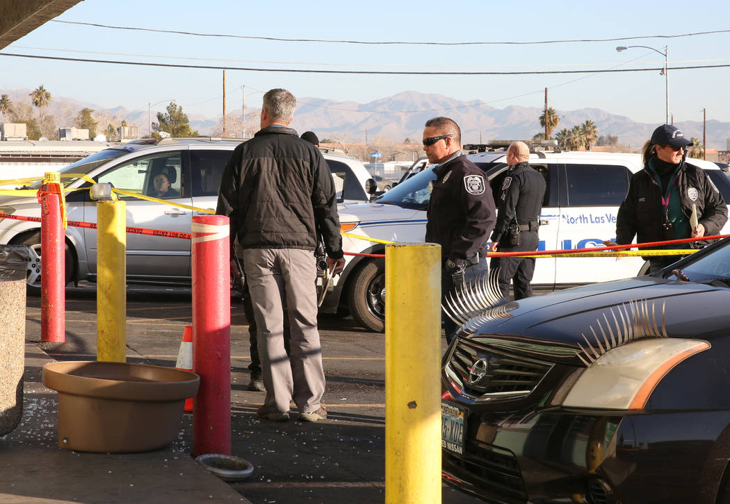 North Las Vegas police are investigating after a convenience store clerk who was stabbed by a p ...