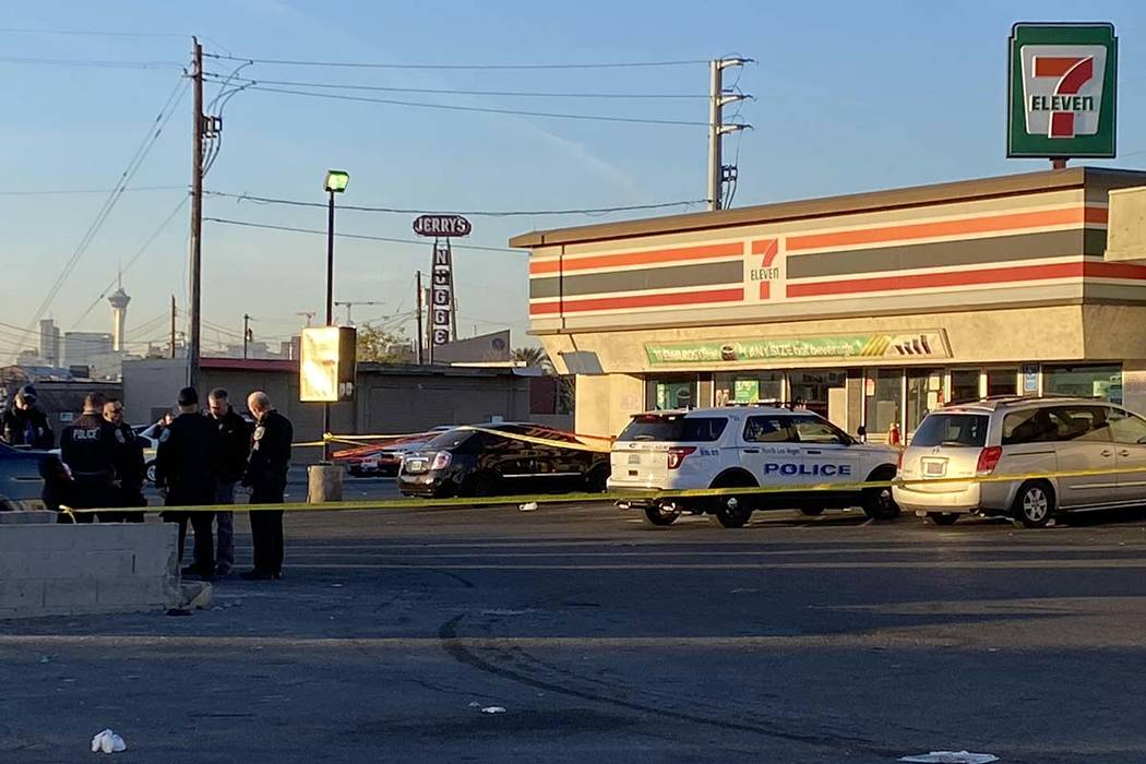 A store clerk shot a trespasser after they were stabbed at a North Las Vegas 7-Eleven, Wednesda ...