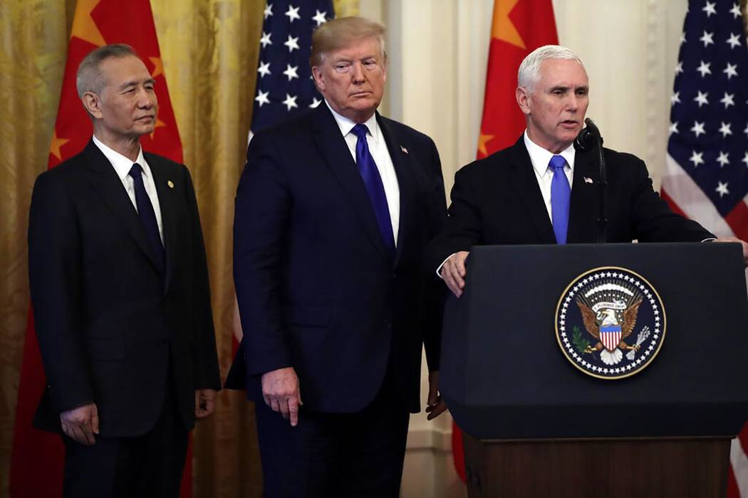 Vice President Mike Pence speaks as President Donald Trump and Chinese Vice Premier Liu He, lis ...