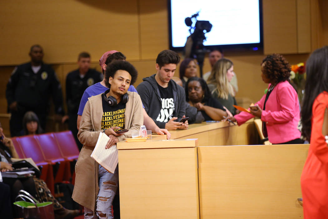 Nathaniel Phillipps of Las Vegas waits to speak at a Las Vegas City Council meeting Wednesday, ...