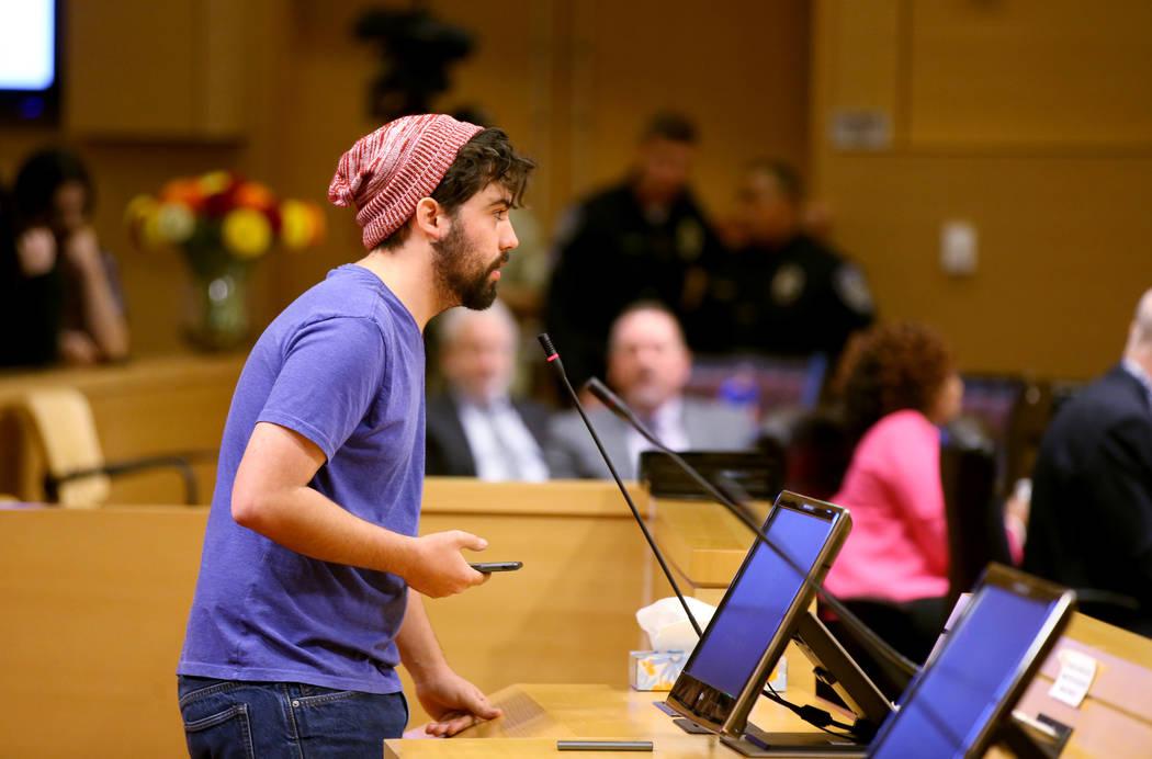 Merrick Haji-Sheikh of Las Vegas speaks at a Las Vegas City Council meeting Wednesday, Jan. 15, ...